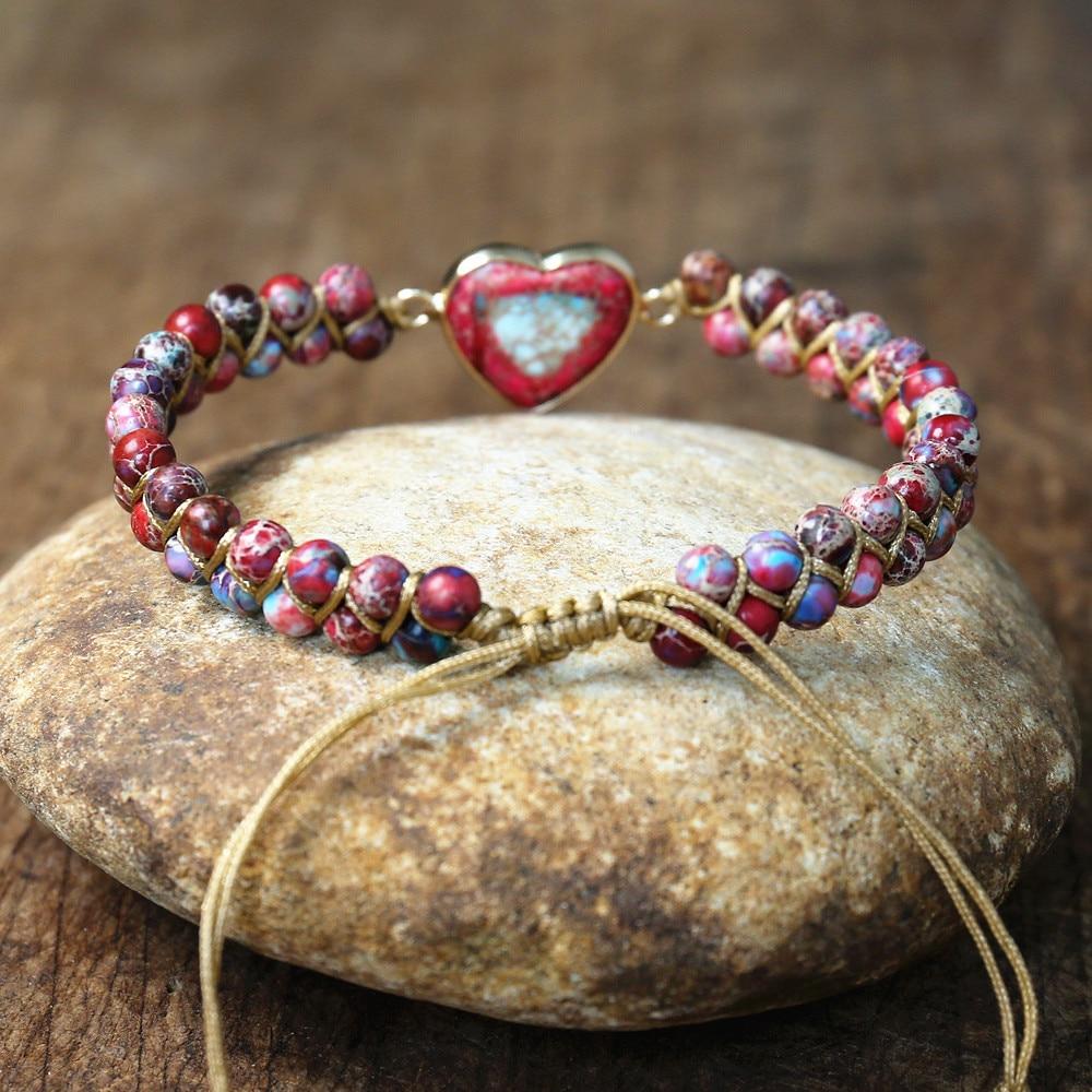 Imperial Stone Heart Shape Charm Bracelets Women Bohemia Yoga String Braided Bracelet Lover Wrap Bracelet Femme Handmade Jewelry