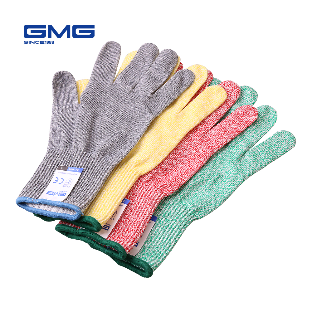 Hot Sale 4 Pairs Four Color GMG HPPE Food Grade For Kitchen Anti-cut Level 5 Safety Work Gloves Cut Resistant Gloves