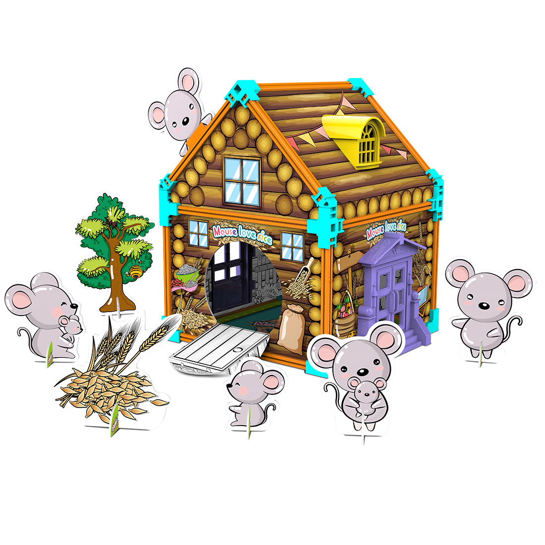 61Pcs Children Hand-Painted Jigsaw DIY <font><b>3D</b></font> <font><b>Cardboard</b></font> <font><b>Puzzles</b></font> Graffiti Assembly Toy - Mouse Love Rice/Elephant Boat/Lion King/Cow image