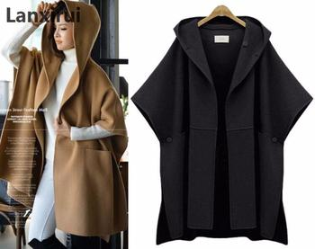 Woman Hooded Cloak Batwing Sleeve Woolen Cape Overcoat Large Size Women Loose Woolen Coats Lady Winter Fashion Poncho plus size фото