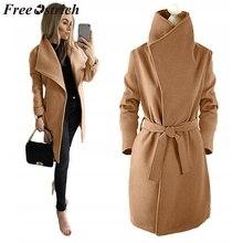 Женское пальто из страуса с отложным воротником, семейный длинный рукав, пояс на талии, шерстяное одноцветное свободное зимнее пальто большого размера для женщин