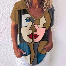 2021 Cartoon Print V-neck Short-sleeved T-shirt Personality Funny Tops Harajuku Street Casual Women's T-shirt S-5XL 4 Colors