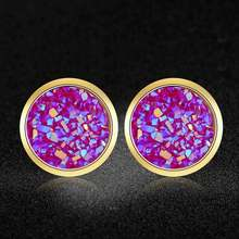 AAAAA Quality 100% Stainless Steel Shinning Resin Stud Earring for Women Wedding Party Ear Studs Jewelry(China)