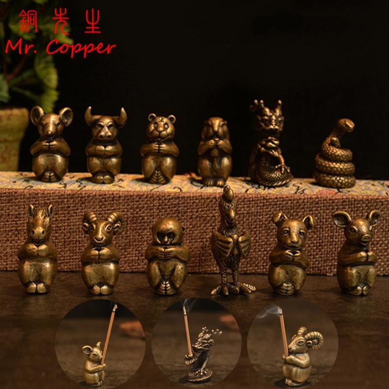 Exquisite Old China Pure Brass 12 Zodiac Lion Beast Incense Burner Censer Statue