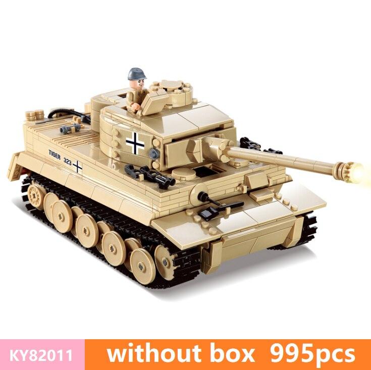 KZ KY82011 juegos de bloques de construcción de tanque de tigre rey alemán, soldados del ejército de WW2, juguetes de ladrillos DIY-in Bloques from Juguetes y pasatiempos    3