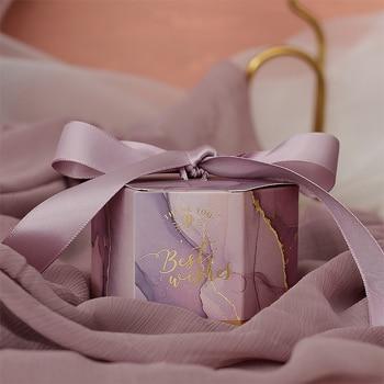 10 Uds lavanda de caja de regalo de boda Favor de azúcar caja de suministros para fiesta bebé ducha cajas de papel de chocolates de embalaje Cajas de Regalo
