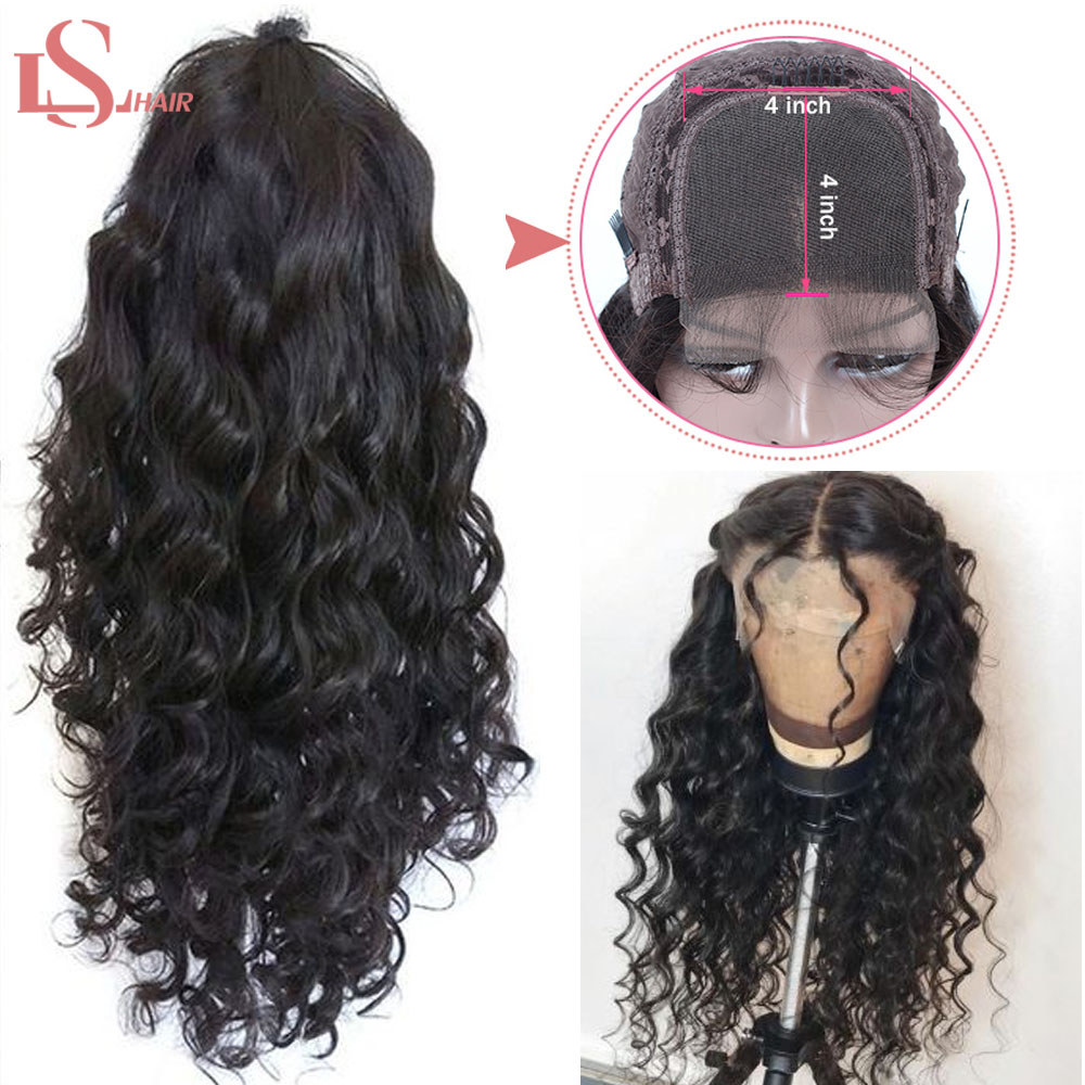 4*4 Lace Closure Wig Brazilian Human Hair Glueless 10- 24 Inch Water Wave Lace Wigs For Women Remy LS Hair Free Shipping