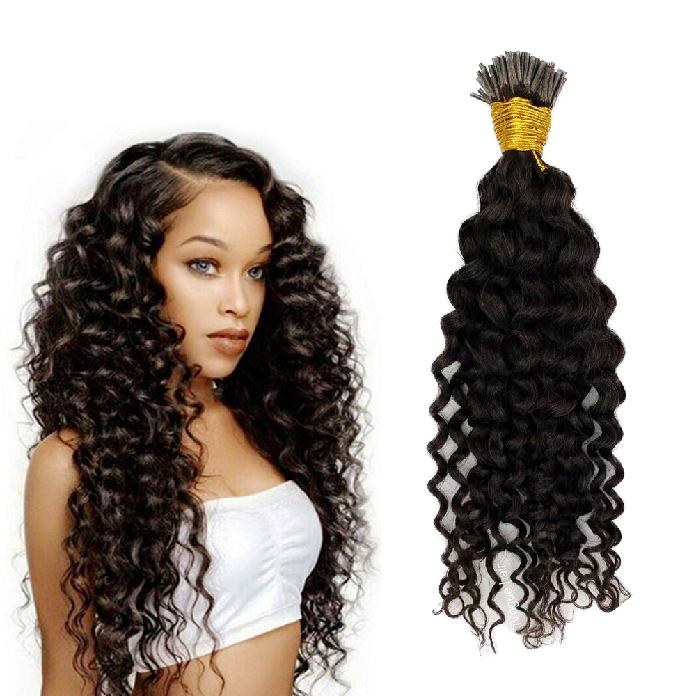 Deep Wave Micro Loop Human Hair Extensions I Tip Beads Hair 8