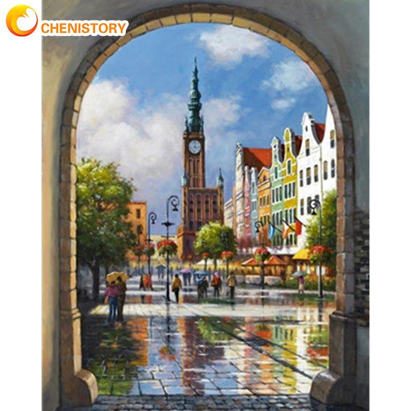 Купить chenistory bell tower уличный пейзаж картина маслом по номерам