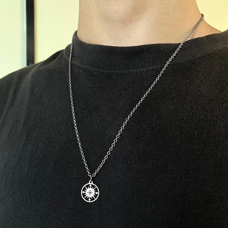 Ожерелье компас, мужское ожерелье из нержавеющей стали для женщин, Круглый Компас для влюбленных, ручная работа, ожерелье на выпускной, женское, мужское ожерелье|Ожерелья с подвеской|   | АлиЭкспресс