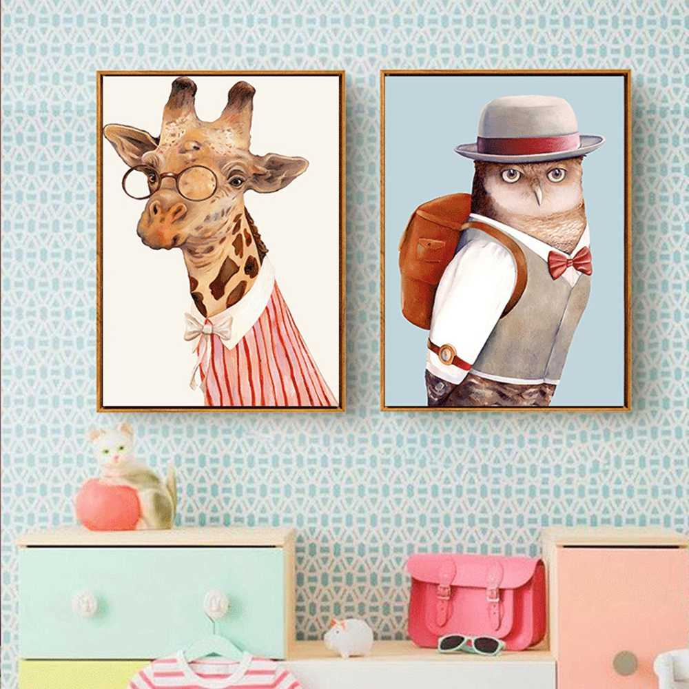 12 Cartoon Animal Poster Oil Pictures On The Wall Canvas Painting Wall Pictures For Kids Room Home Decor cuadros
