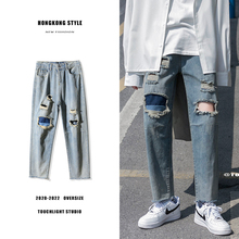 Summer Hole Patch Jeans Men's Fashion Washed Retro Straight Jeans Men Streetwear Loose Hip Hop Hole Denim Trousers Mens S-3XL new brand personality fashion clothing style hole patch embroidery jeans 2017 men s fashion straight denim trousers blue