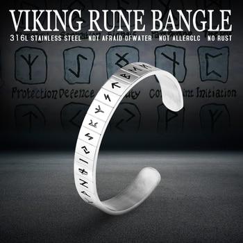 316L Stainless Steel Norse Viking Rune Cuff Bracele  Viking Bracelet