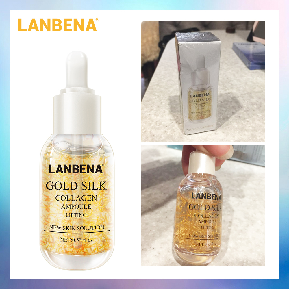 LANBENA Gold Silk Collagen Ampoule Serum Removes Melanin Lighten Dark Spots Whitening Firming Flexible Anti Aging Anti Wrinkle