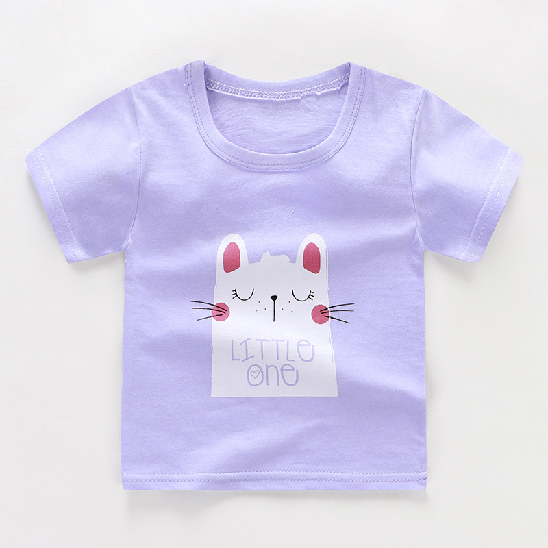 От 2 до 6 лет Детская одежда унисекс летняя футболка с короткими рукавами и круглым вырезом для мальчиков детская хлопковая одежда для девочек Детская футболка Короткие футболки в полоску - Цвет: 07