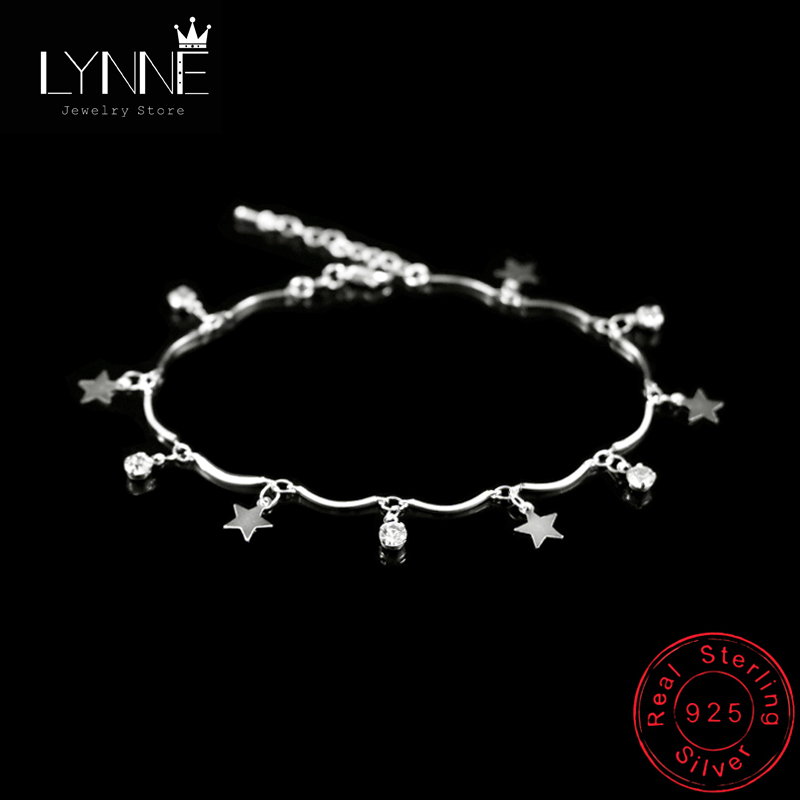 Newest Bohemia 925 Sterling Silver Round Rhinestone Star Pendant Anklets Women Fashion Jewelry Summer Zircon Foot Chain Bracelet