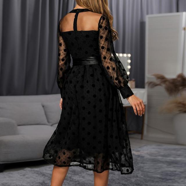 Womens Dress 2020 Spring Summer Plus Size Ladies Polka Dot Lace Mesh Maxi Dresses Evening Party Dress Vestidos Female Clothing