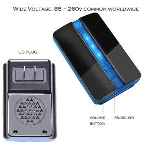 Image 5 - เบ้าSelf Powered Wireless Doorbell Door BellแหวนCall NOแบตเตอรี่US Plug Homeกันน้ำ150M 1ปุ่ม1 2 Receiver