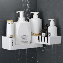 Bathroom Corner Shelf Shower Shampoo Organizer Rotatable Without Drilling With 4 Hooks For Bathroom Basket Kitchen Storage