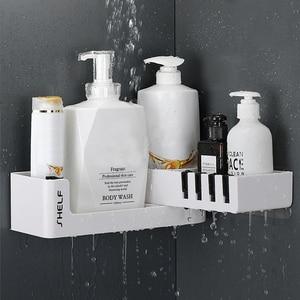 Image 1 - Bathroom Corner Shelf Shower Shampoo Organizer Rotatable Without Drilling With 4 Hooks For Bathroom Basket Kitchen Storage