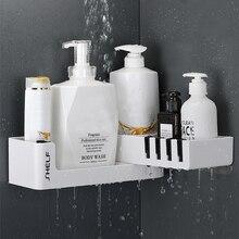 Łazienkowa półka narożna szampon pod prysznic Organizer obrotowy bez wiercenia z 4 haczykami na kosz łazienkowy przechowywanie w kuchni