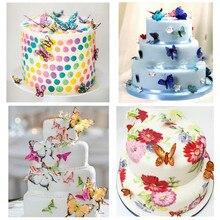 42 قطعة فراشة مختلطة الصالحة للأكل الغراء رقاقة الأرز ورقة فراشة كعكة كب كيك القبعات العالية حفل زفاف وعيد ميلاد كعكة الديكور