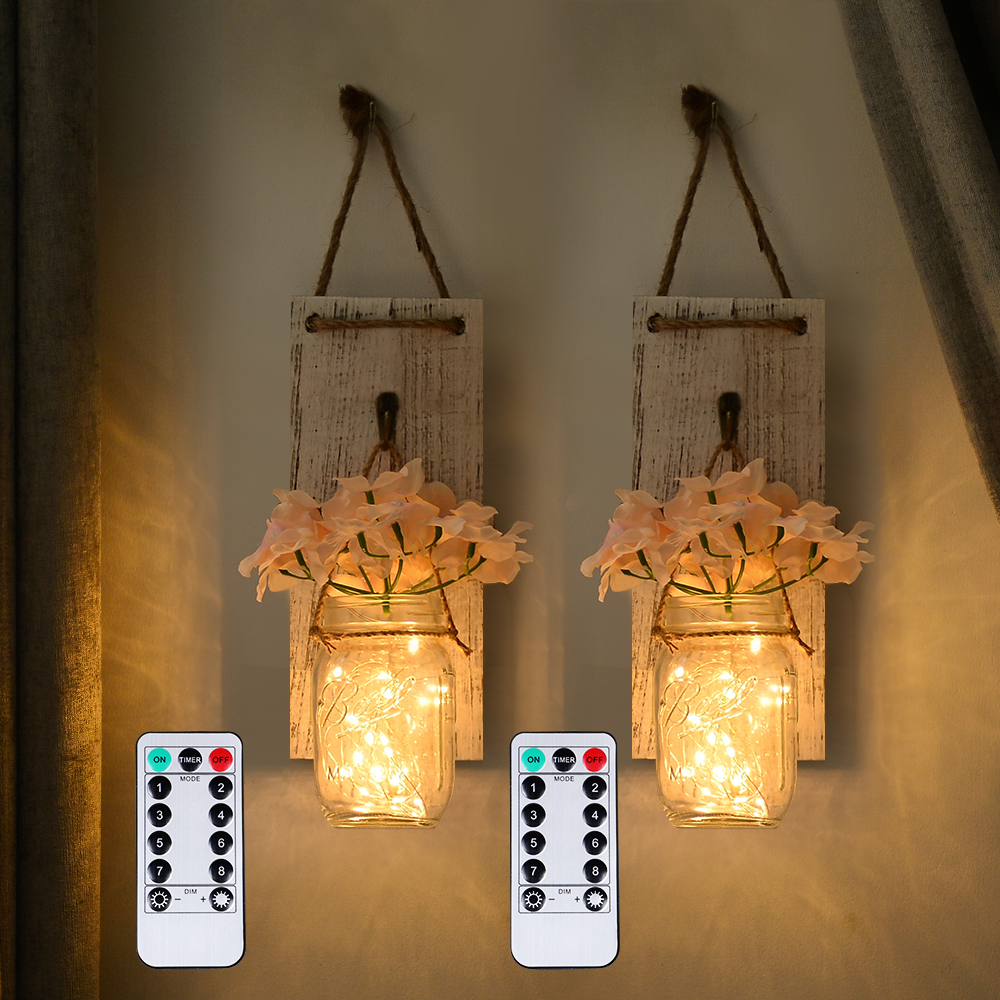 2Pcs Mason Jar Sconce Rustic Wall Decor with Fairy Lights Hanging Wall Art for Indoor & Outdoor FARM Garden Yard Home Decor|LED Indoor Wall Lamps| |  - title=