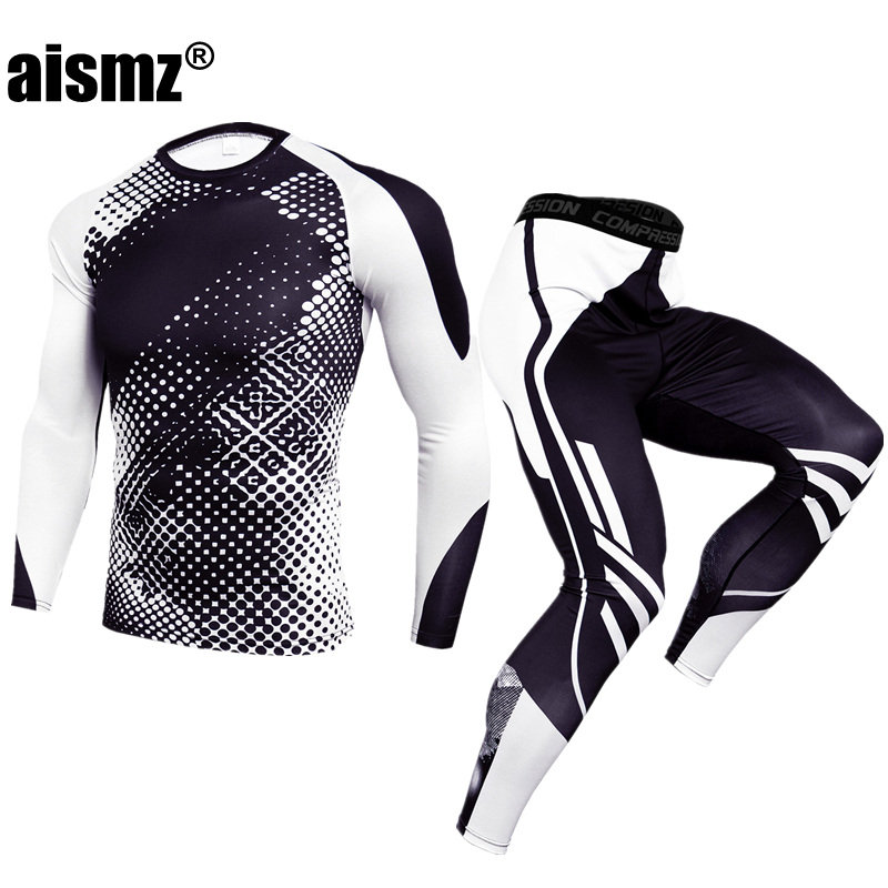 Aismz Men Thermal Underwear Sets Compression Sweat Quick Drying Long Johns Fitness Bodybuilding Shapers Sexy Tights Mens Legging image