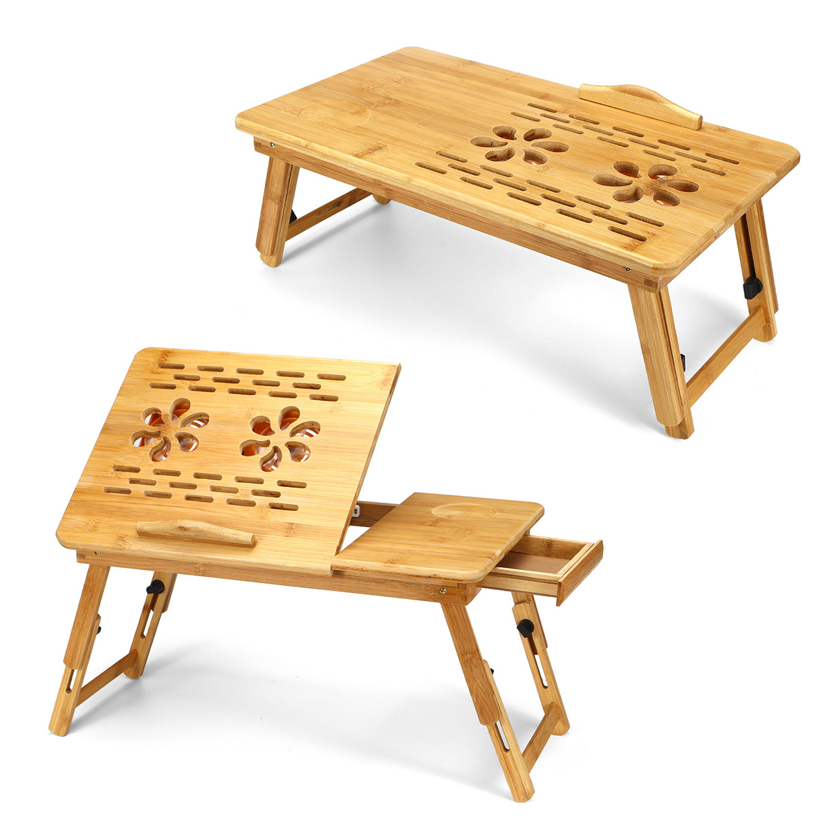 Portable Folding Bamboo Laptop Table Sofa Bed Office Laptop Stand Desk With Cooling Fan Bed Table For Computer Notebook Books