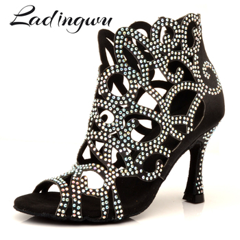 Ladingwu Brands Latin Dance Shoes Laser Engraved Rhinestone Professional Customizable Colors Salsa