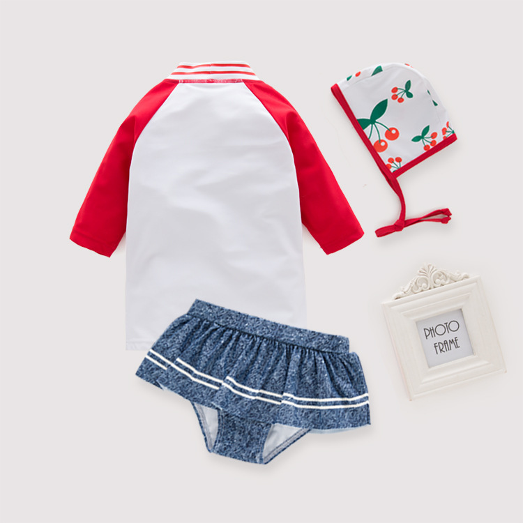 Women's Two-piece Swimsuits Long Sleeve Cherry Kuan KID'S Swimwear Hot Springs Clothing
