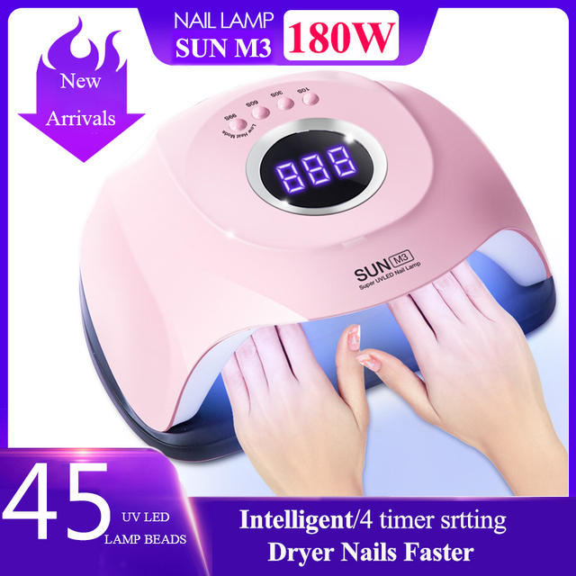 Brand New 180W UV Lamp Nail Dryer Pro LED Hybrid Lamp Fast Curing Gel Nail Polish Dryer45 LEDs Manicure Lamp Nail Art Tools
