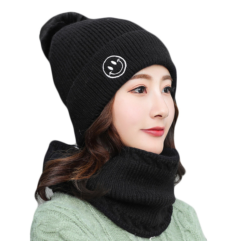 New Women Knitted Hats Autumn Winter Hats Scarf Two Piece Sets Female Thick Warm Riding Climbiing Cap Scarf Chapeu Gorros Bone