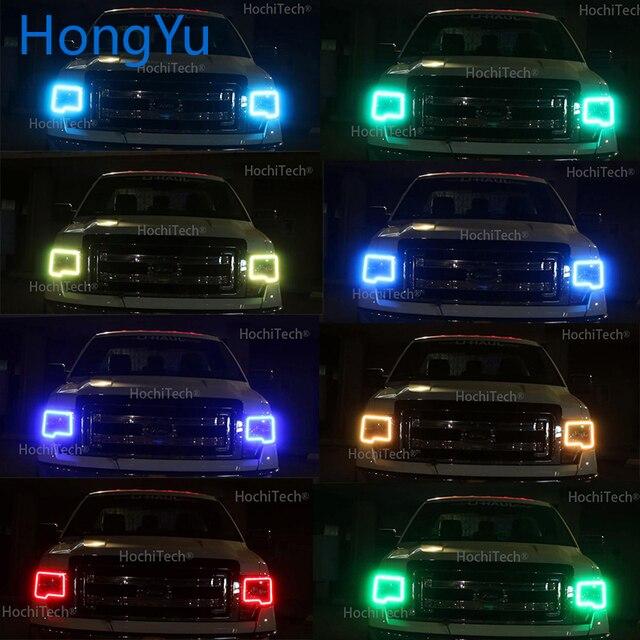 Bagues yeux dange Halo | Pour Ford F150 RGB, dernier phare multicolore RGB yeux dange, télécommande DRL