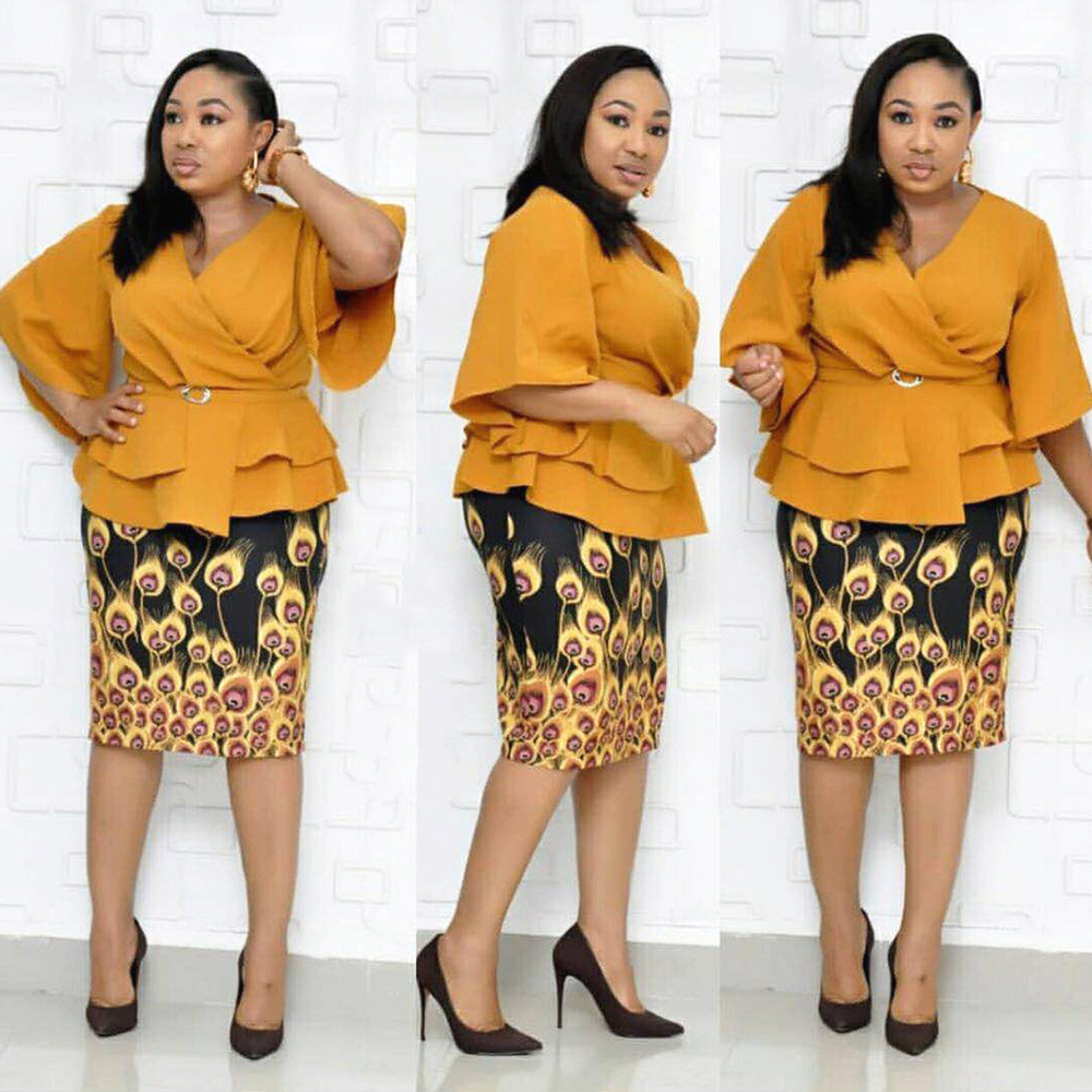 2019 New African Dresses For Women 2 Pieces Set Robe Africaine Femme African Skirt Print Dresses Dashiki Africa Clothing