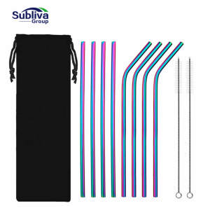 8Pcs Reusable Drinking Straw High Quality 304 Stainless Steel Metal Straw with 2PC Cleaner Brush For Mugs