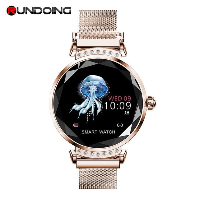 Женские Водонепроницаемые Смарт часы RUNDOING H2, фитнес трекер с пульсометром, модные спортивные Смарт часы для android и IOS