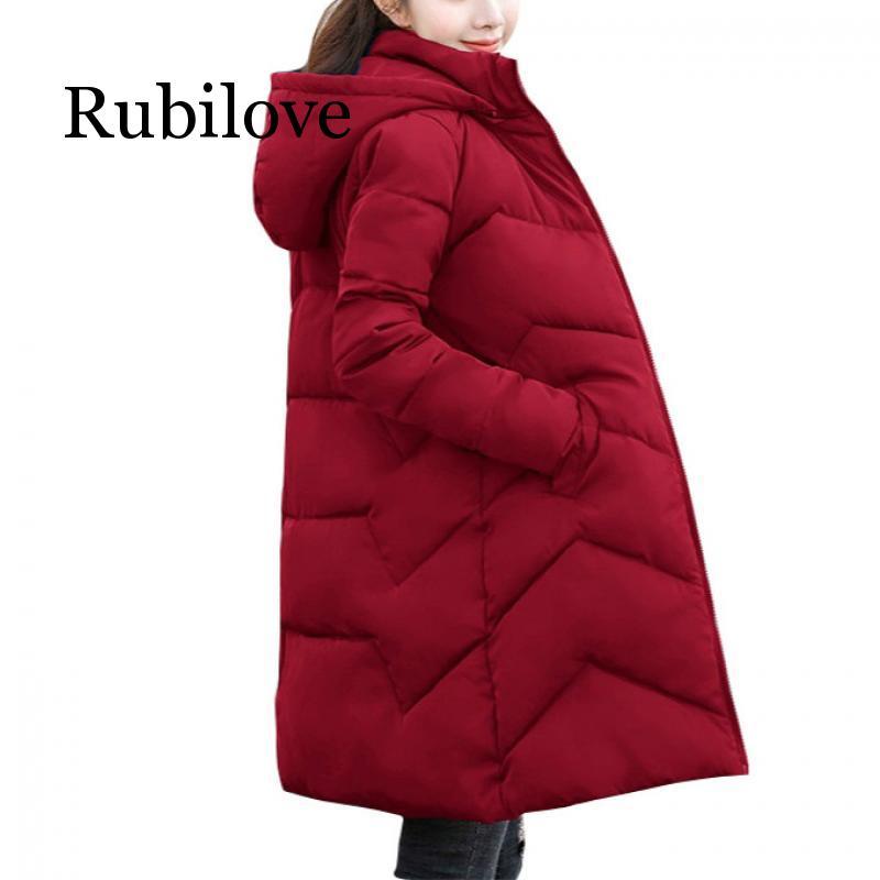 Rubilove 2019 Hooded Women Winter Coat Warm Women Plus Size S- 6XL Winter Jacket Female Long   Parkas   Womens Padded Coats