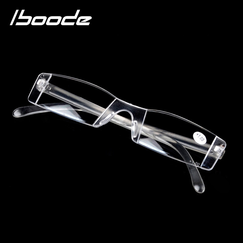 IBOODE Frameless Reading Glasses Women Men Square Rimless Presbyopic Eyeglasses Female Male Hyperopia Eyewear Optics Spectacles