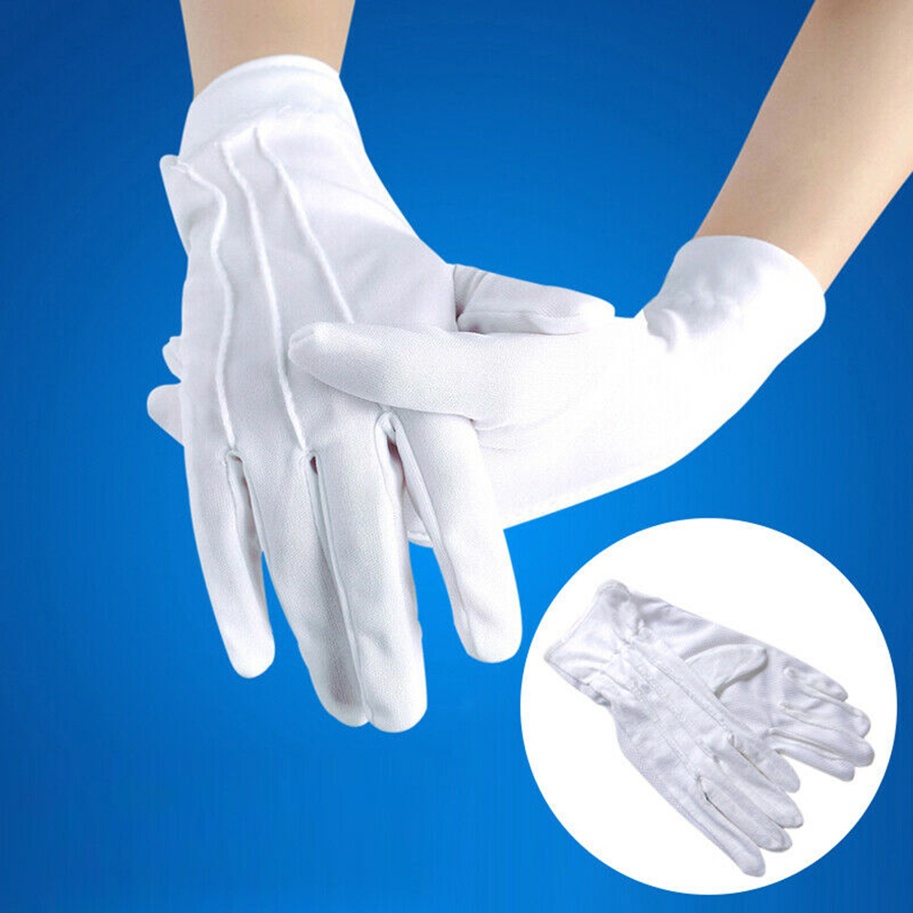 Parade Etiquette Labor Protection Tuxedo Accessories White Gloves Solid Color Simple Fashion Temperament Gentleman Nylon