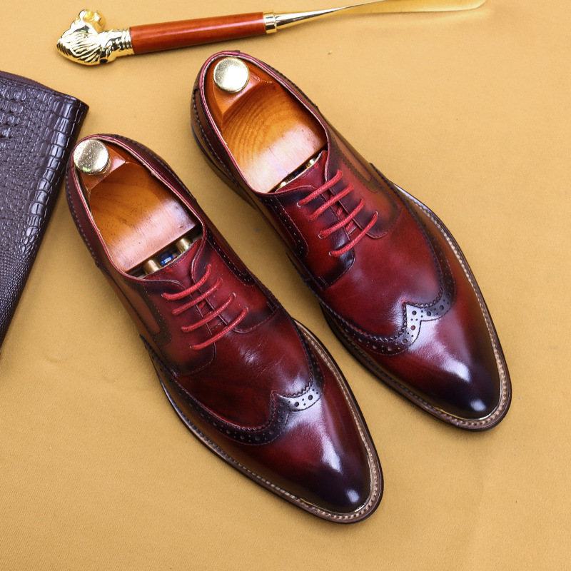 British Shoes Men Leather Dress Shoes Cow Leather Business Formal Leather Shoes Brogues Shoes