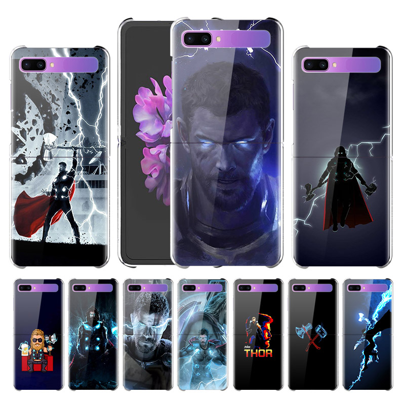 For Samsung Galaxy Z Flip <font><b>Case</b></font> Luxury Clear Hard PC Back Cover For Samsung ZFlip <font><b>Phone</b></font> <font><b>Cases</b></font> Thor Stormbreaker <font><b>Marvel</b></font> Heroes image