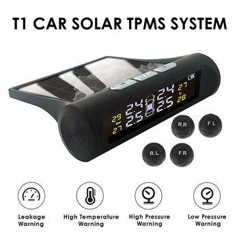 USB Solar Dual Charging Car TPMS Tire Pressure Monitoring System HD Digital LCD Display Auto Security Alarm W/ 4 External Sensor
