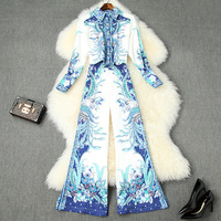 Women fashion 2020 spring summer two piece set blue white porcelain print shirts tops wide leg pants suit trousers designer