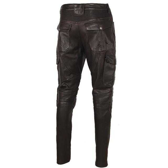 Motorcycle Leather Trousers Men Leather Pant Thick 100% Cowhide Vintage Grey Brown Black Men's Moto Biker Pants Winter 4XL M216 6