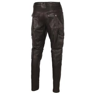 Image 5 - Motosiklet deri pantolon erkek deri pantolon kalın 100% inek derisi Vintage gri kahverengi siyah erkek Moto Biker pantolon kış 4XL m216