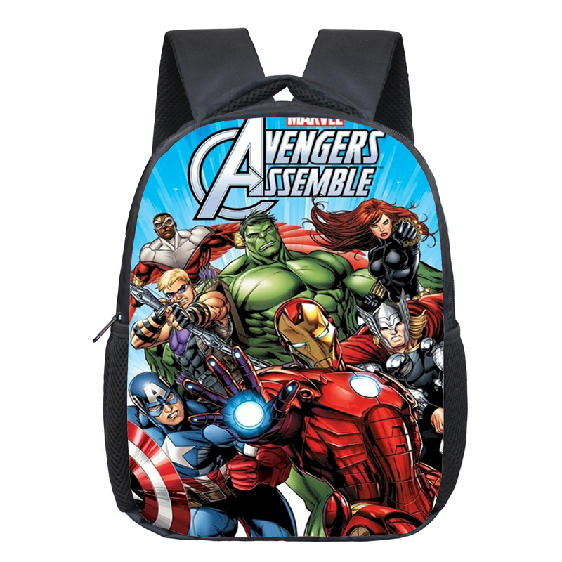 New Fashion Polyester 12-inches Printing Avenger Cartoon Hulk Children Backpack For Tennager Boys Schoolbag For Kids School Bags