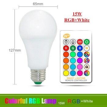 E27 E14 RGB Led Bulb 3W 5W 10W 15W Dimmable 16 Color Changing Magic Bulb Gu10  AC 220V 110V RGB White IR Remote  Night Light C3 11