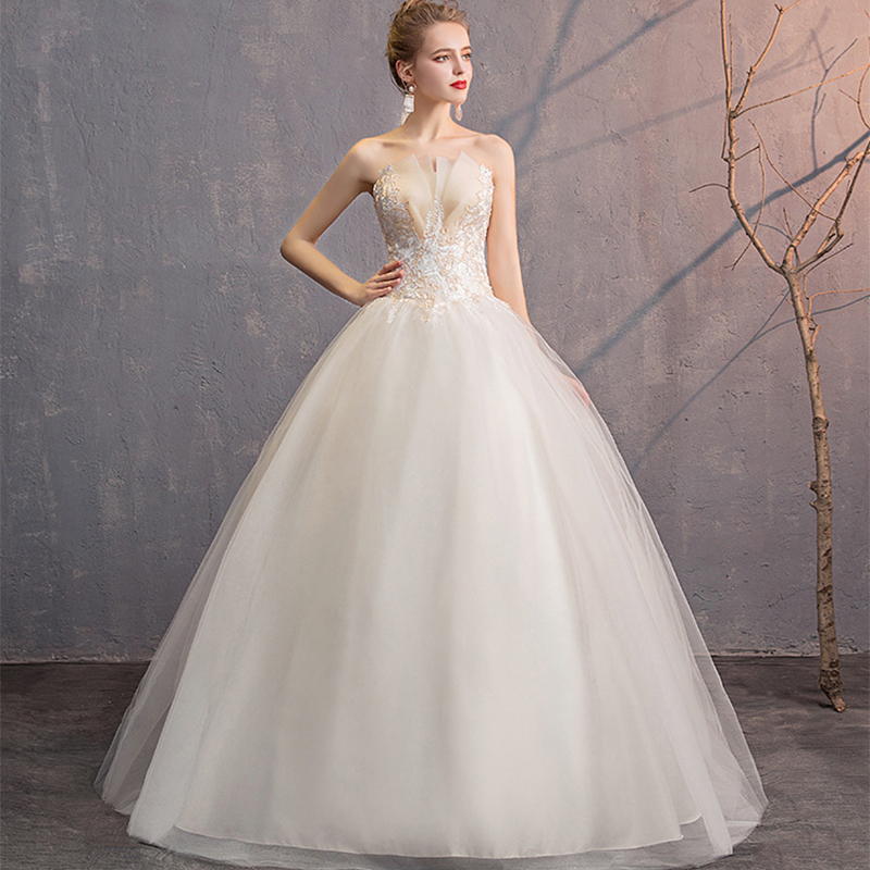 Sexy Illusion Wedding Dresses Strapless Ball Gown Lace Up Embroidery Tulle Formal Wedding Gowns For Bride Robe De Mariee 2019