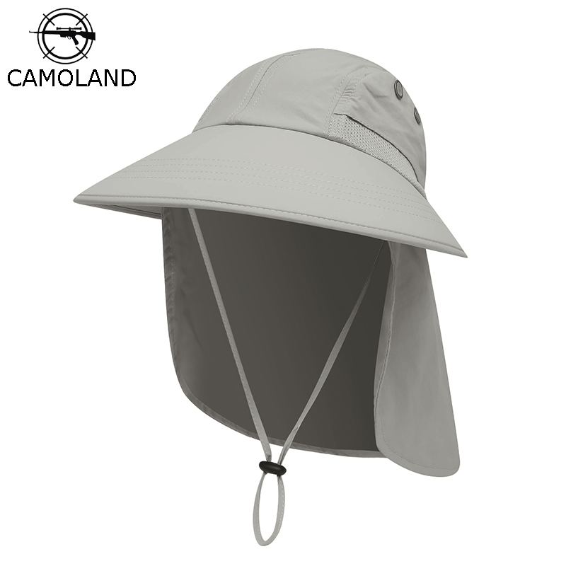 CAMOLAND Women Summer Sun Hat Casual Men Bucket Hat With Neck Flap UV Protection Large Wide Brim Boonie Hats Outdoor Fishing Cap